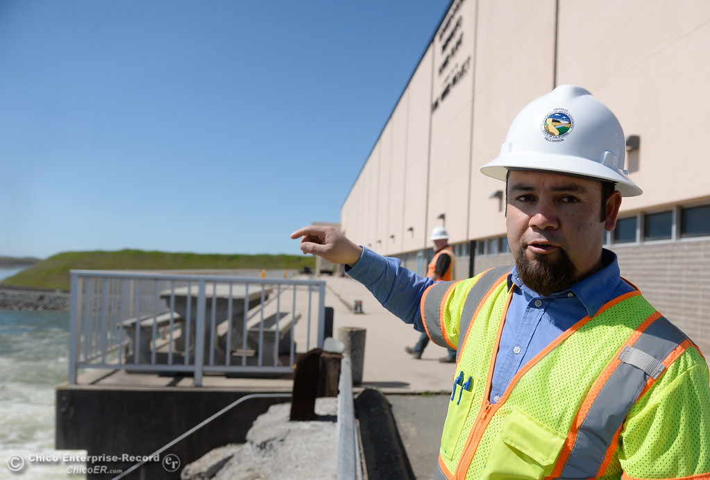 . Armando Ortiz, assistant project manager (for Thermalito facilities) talks about work currently underway at the The Ronald R. Robie Thermalito Power Plant located in Oroville, Calif. Wed. March 28, 2018.  (Bill Husa -- Enterprise-Record)