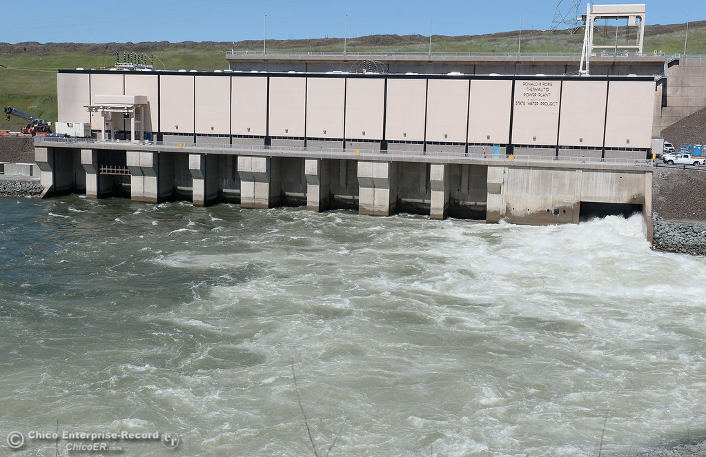 . The Ronald R. Robie Thermalito Power Plant located in Oroville, Calif. is currently undergoing renovations from a fire that occurred in November of 2012. Here, the plant is seen with water flowing through the bypass gate at a rate of approx. 8,000 cfs while repairs are underway Wed. March 28, 2018.  (Bill Husa -- Enterprise-Record)