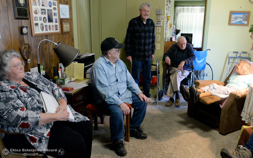 . Left to right Mary Lou berry, Al Simpson, Jack Berry, Neal Tyrrell and Mary Tyrrell talk about their Neighborhood Watch progam at the home of Neal and Mary Tyrrell in Oroville, Calif. Wed. March 28, 2018.  (Bill Husa -- Enterprise-Record)