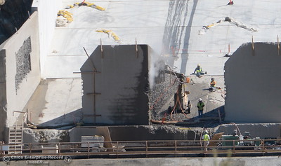Construction continues at the Lake Oroville Dam Spillway Friday April 20, 2018. (Bill Husa / Chico Enterprise--Record)