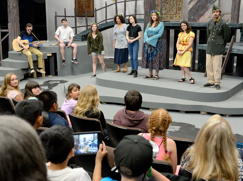 A group of students from Oakdale Heights tour the Theatre on the Butte College Campus during kids challenge day in Chico, Calif. Tues. April 24, 2018. The cast of Much Ado about Nothing talked about the show and opportunities students have in theater.   (Bill Husa -- Enterprise-Record)