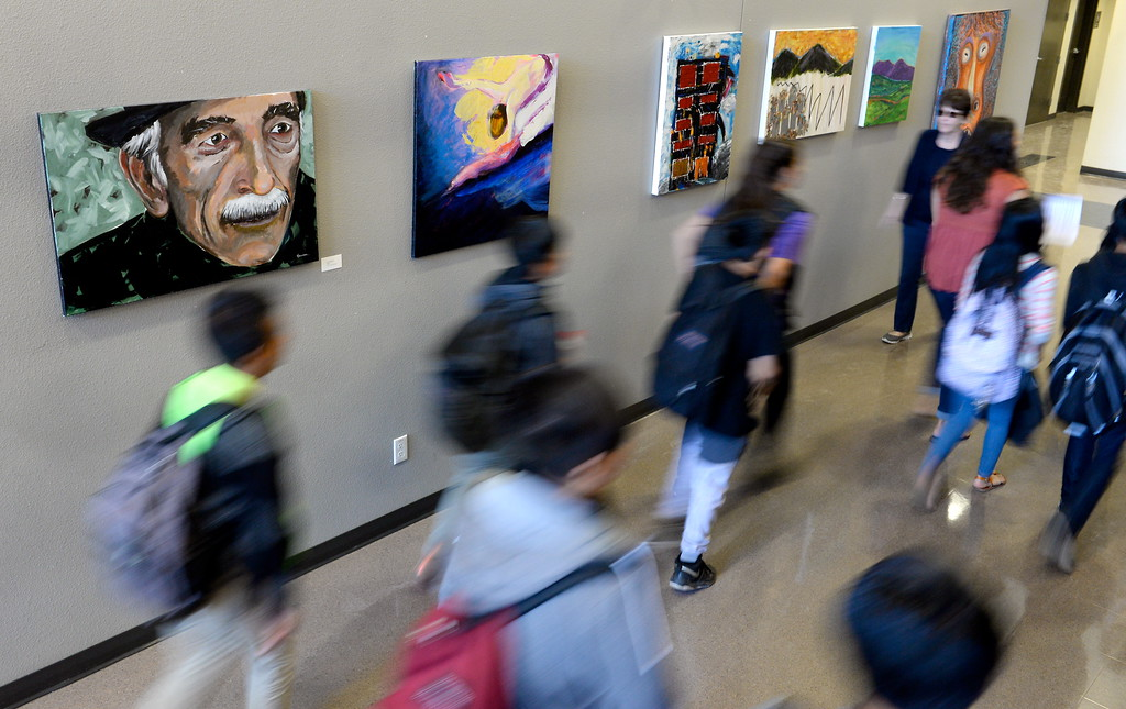 . More than 450 students in grades 4-8 tour the Arts Building at the Butte College Campus during kids challenge day in Chico, Calif. Tues. April 24, 2018. Students learned about various programs offered at the college and in some case, how much money they might expect to make with certain careers.  (Bill Husa -- Enterprise-Record)
