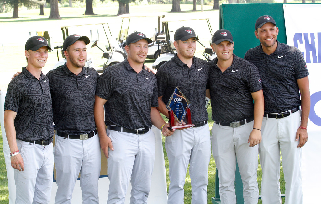. The Chico State mens golf team faces Cal State Monterey Bay in match play Wednesday, April 25, 2018, for the California Collegiate Athletic Association championship at the Butte Creek Country Club in Chico, California. (Dan Reidel -- Enterprise-Record)