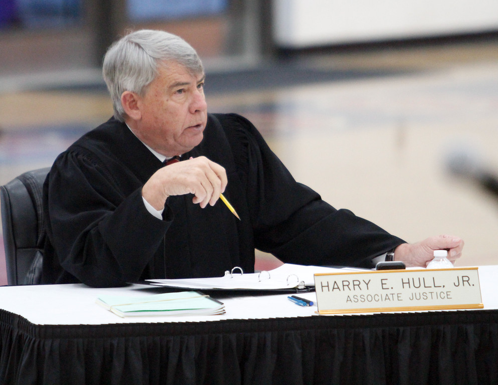 . Associate Justice Harry E. Hull, Jr., listens to arguments as the Third Appellate Court of California reviews two cases Wednesday, April 25, 2018, in Oroville, California. The court heard oral arguments from lawyers at Las Plumas High School as part of  (Dan Reidel -- Enterprise-Record)
