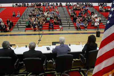 High School students sit in the bleachers after the Third Appellate Court of California reviews two cases Wednesday, April 25, 2018, in Oroville, California. The court heard oral arguments from lawyers at Las Plumas High School as part of  (Dan Reidel -- Enterprise-Record)