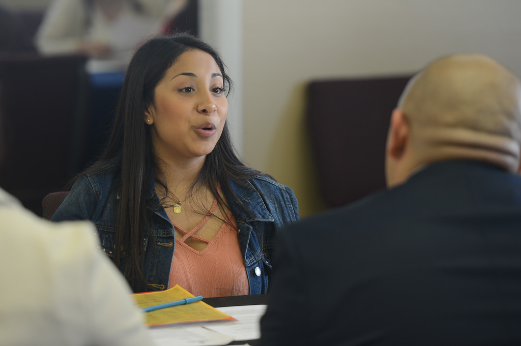 . Fair View High students meet with local employers for the school\'s annual job fair. Donna Michel puts her interview and resume skills to the test as she networks and chats with Jesus Arellani, April 26, 2018,  in Chico, California. (Carin Dorghalli -- Enterprise-Record)