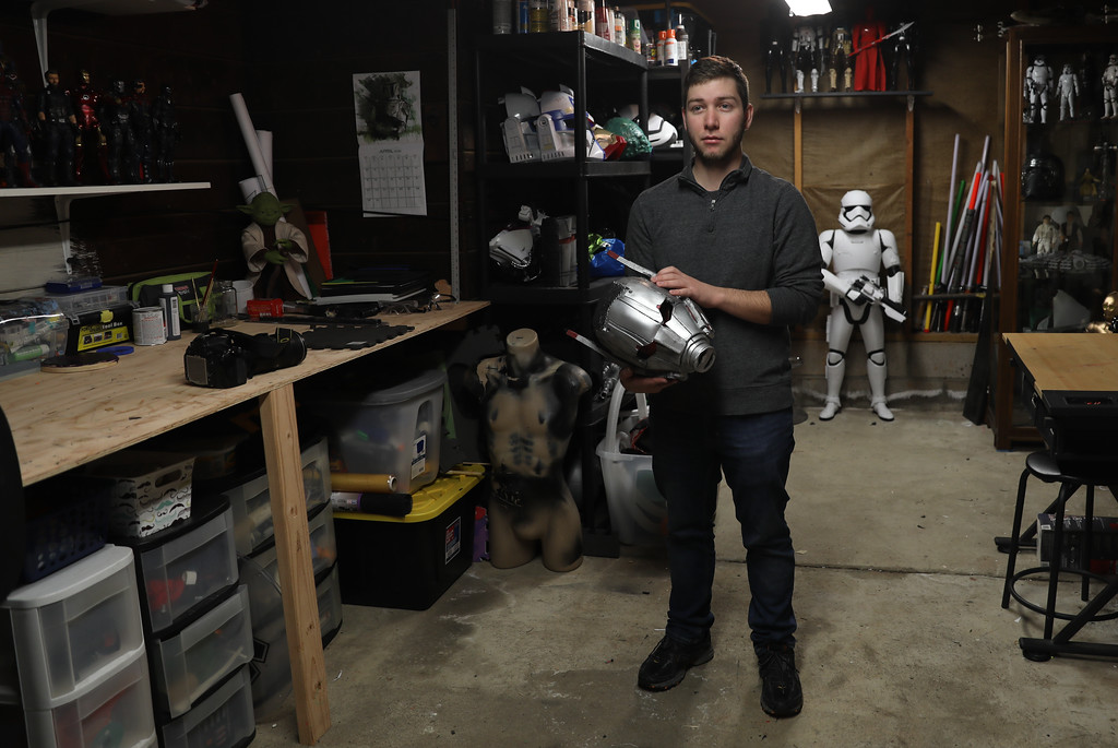 . Ryan Meran stands in his studio where he creates life-like Star Wars and Marvel character costumes, April 6, 2018, in Chico, California. (Carin Dorghalli -- Enterprise-Record)