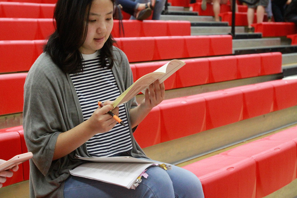 . Chico State legal studies student ShiSha Yang reviews a pamphlet with case information as the Third Appellate Court of California reviews two cases Wednesday, April 25, 2018, in Oroville, California. The court heard oral arguments from lawyers at Las Plumas High School as part of  (Dan Reidel -- Enterprise-Record)
