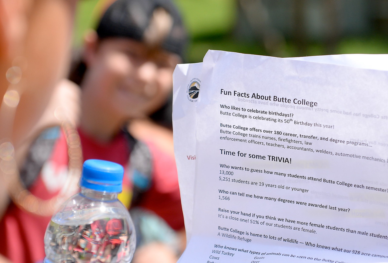 Tour Guide and Butte College Career Services representative Carrie Soldate keeps a group of Palermo Bulldogs entertained as she and others give more than 450 students in grades 4-8 a tour the Butte College Campus during kids challenge day in Chico, Calif. Tues. April 24, 2018.  Students learned about various programs offered at the college and in some cases, how much money they might expect to make with certain careers.  (Bill Husa -- Enterprise-Record)