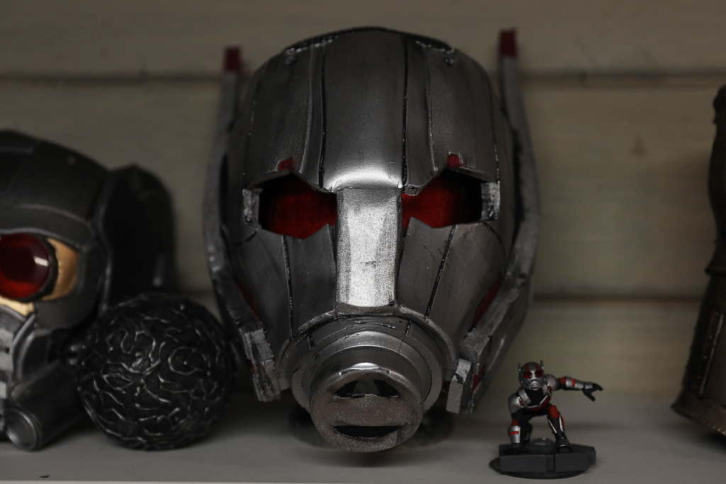 . Ryan Meran\'s created Ant Man mask, April 6, 2018, in Chico, California. (Carin Dorghalli -- Enterprise-Record)