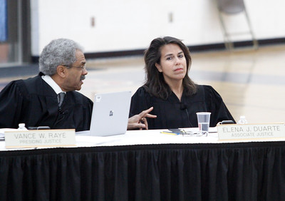 Presiding Justice Vance E. Raye, left, and Associate Justice Elena J. Duarte, right, discuss a point as the Third Appellate Court of California reviews two cases Wednesday, April 25, 2018, in Oroville, California. The court heard oral arguments from lawyers at Las Plumas High School as part of  (Dan Reidel -- Enterprise-Record)