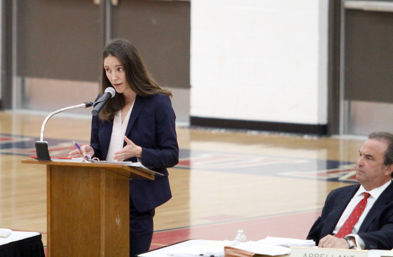 Appellant attorney Daniel Cohen, left, listens while Deputy Attorney General Courtney Covington argues for the respondent as the Third Appellate Court of California reviews two cases Wednesday, April 25, 2018, in Oroville, California. The court heard oral arguments from lawyers at Las Plumas High School as part of  (Dan Reidel -- Enterprise-Record)