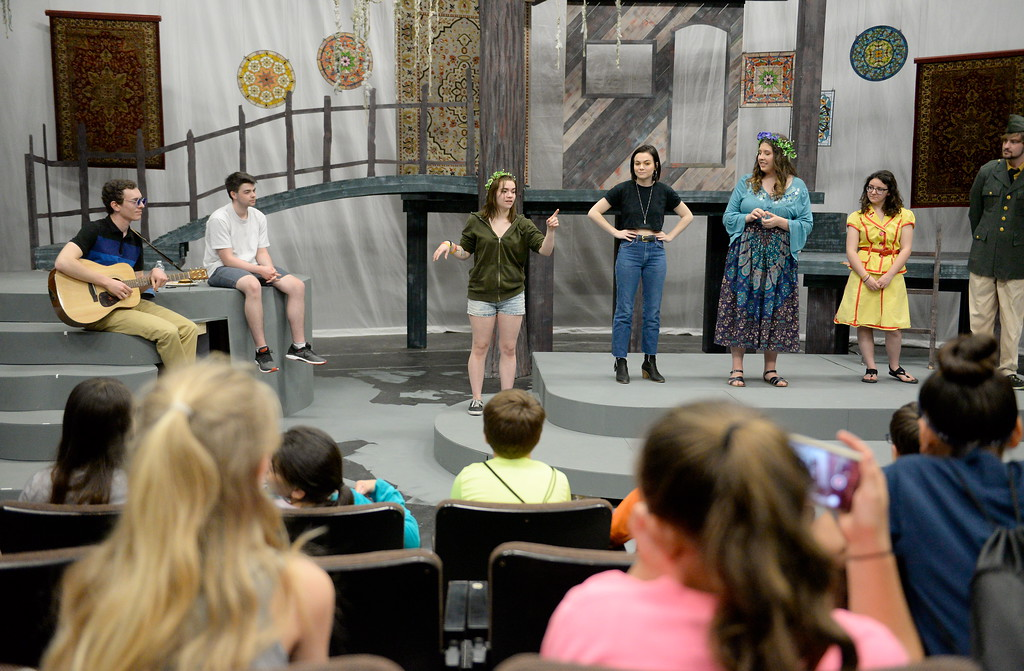 . A group of students from Oakdale Heights tour the Theatre on the Butte College Campus during kids challenge day in Chico, Calif. Tues. April 24, 2018. The cast of Much Ado about Nothing talked about the show and opportunities students have in theater.   (Bill Husa -- Enterprise-Record)