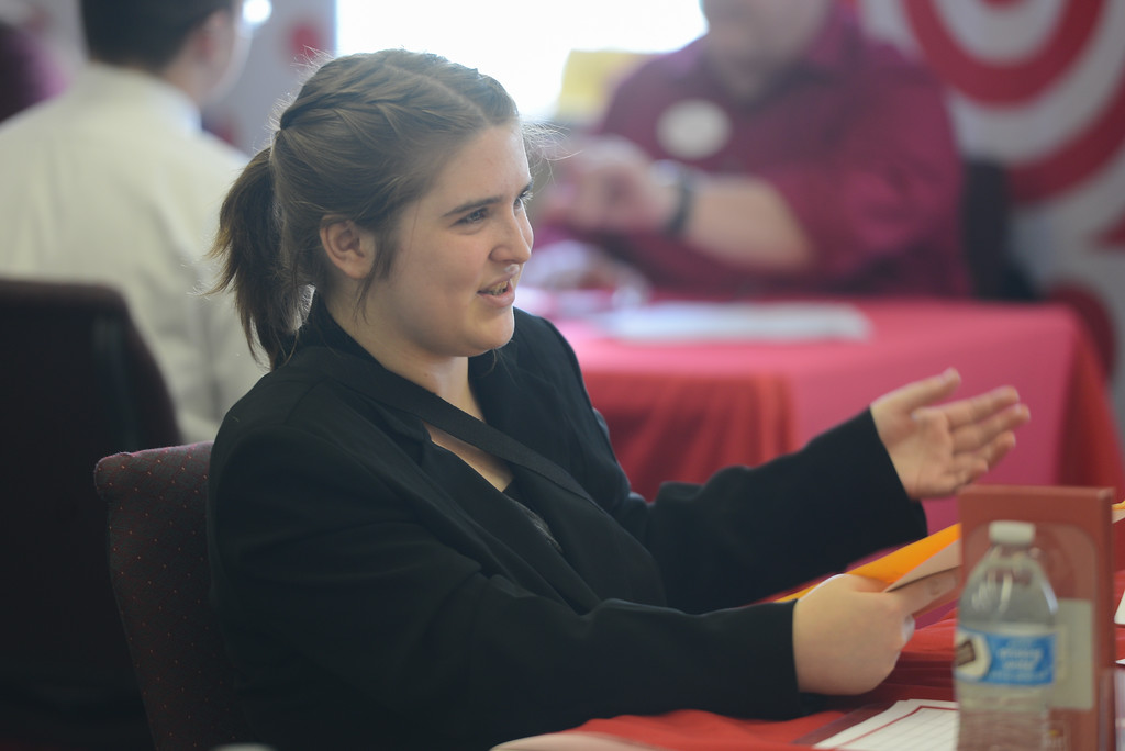 . Fair View High students meet with local employers for the school\'s annual job fair. Abbey Ranstead-Ramsey put her interview and resume skills to the test as she networks and chats with local employers, April 26, 2018,  in Chico, California. (Carin Dorghalli -- Enterprise-Record)