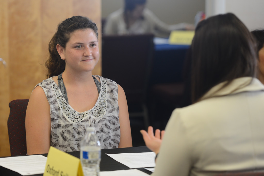 . Fair View High students meet with local employers for the school\'s annual job fair. Kurren Crownover Kathy puts her interview and resume skills to the test as she networks and chats with Kathy Plowman, April 26, 2018,  in Chico, California. (Carin Dorghalli -- Enterprise-Record)