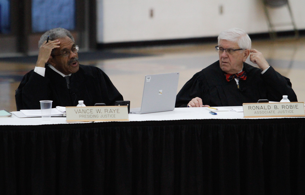 . Presiding Justice Vance W. Raye, left, and Associate Justice Ronald B. Robie listen to arguments as the Third Appellate Court of California reviews two cases Wednesday, April 25, 2018, in Oroville, California. The court heard oral arguments from lawyers at Las Plumas High School as part of  (Dan Reidel -- Enterprise-Record)