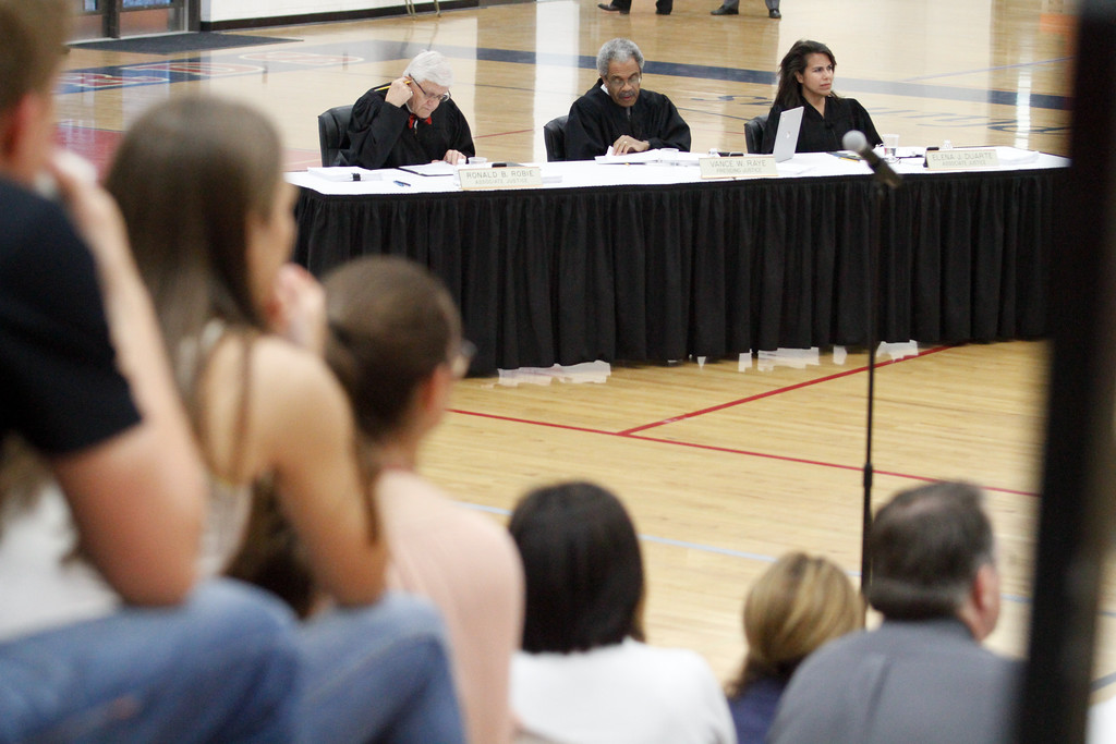 . Las Plumas High School students listen as justices from the Third Appellate Court of California reviews two cases Wednesday, April 25, 2018, in Oroville, California. The court heard oral arguments from lawyers at Las Plumas High School as part of  (Dan Reidel -- Enterprise-Record)