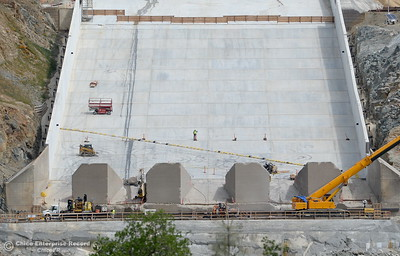 The Lake Oroville Dam controlled spillway is seen in Oroville, Calif. Wed. April 4, 2018. With snow melting and more rain on the way, there is a chance the repaired spillway may be used within the next week. (Bill Husa -- Enterprise-Record)