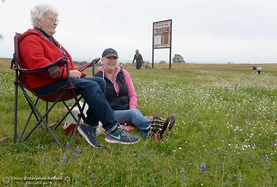"Cheryl Pocock of Forest Hill sits with her Mom Maryjane Ashe of Paradise at left, at Table Mountain in Oroville, Calif. Thursday April 5, 2018. ""This is sort of a tradition""  said Maryjane. (Bill Husa -- Enterprise-Record)"