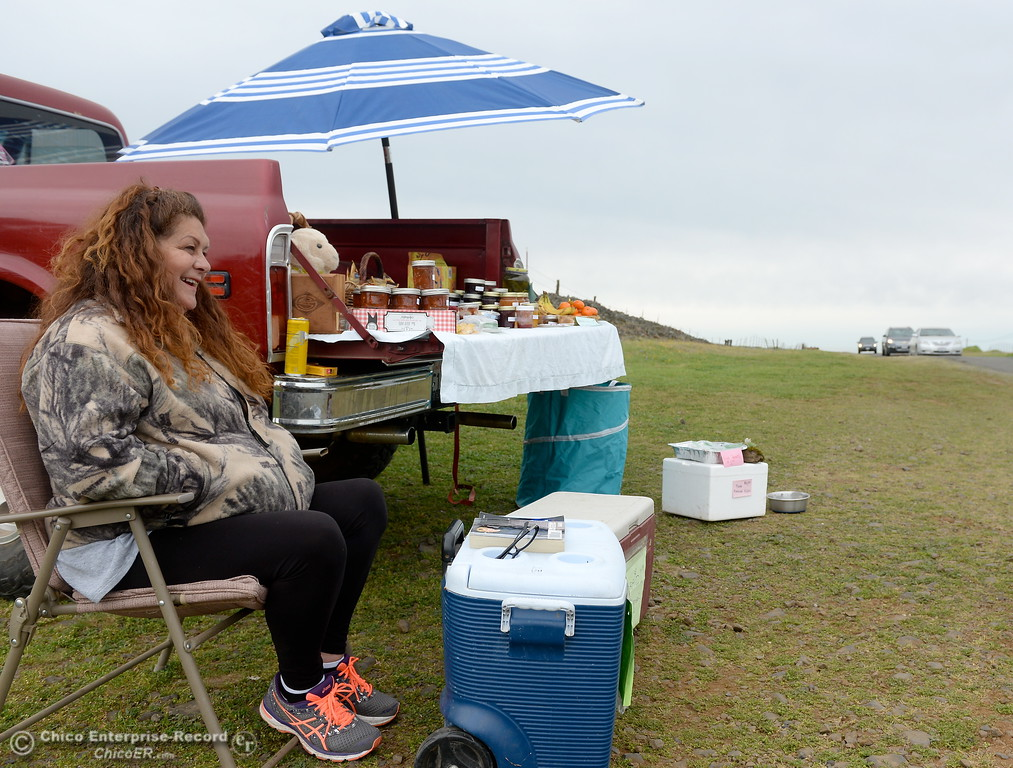 ". Sherry Otsuka sits beside her truck full of goodies for sale at Table Mountain in Oroville, Calif. Thursday April 5, 2018. Otsuka said she has salsa, Jam, Jerky, Cookies, Rice Crispy Treats, Dog Treats and Free Range Eggs along with some free items she gives out ""like the samples at Costco.\""  (Bill Husa -- Enterprise-Record)"
