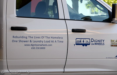 A sign is seen on the side of a truck at the Southside Community Center where the local nonprofit is presenting plans for a homeless care unit that includes showers, toilet and laundry facility. The program is called Haven of Hope Dignity on Wheels. Wednesday May 9, 2018. (Bill Husa -- Enterprise-Record)