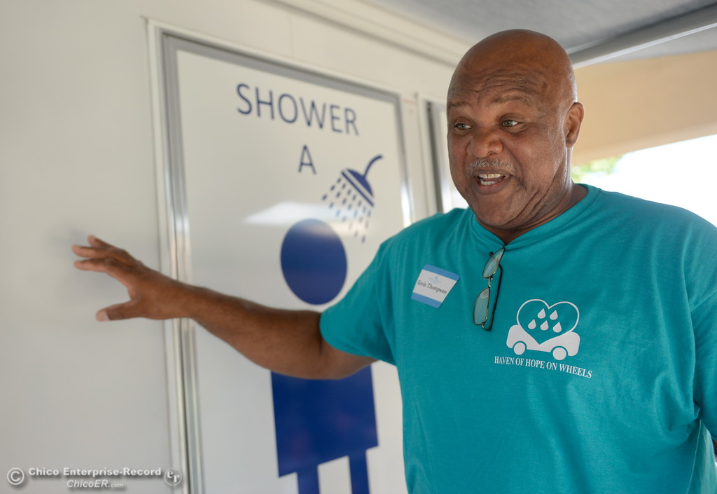 . Pastor Kevin Thompson talks about a homeless care facility trailer that includes showers, toilet and laundry facility as the local nonprofit is presenting plans for a homeless care unit at the Southside Community Center in Oroville, Calif. Wednesday May 9, 2018. (Bill Husa -- Enterprise-Record)