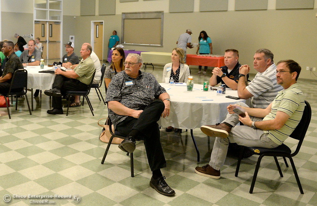 . Oroville officials gather at the Southside Community Center where the local nonprofit is presenting plans for a homeless care unit that includes showers, toilet and laundry facility. Wednesday May 9, 2018. (Bill Husa -- Enterprise-Record)