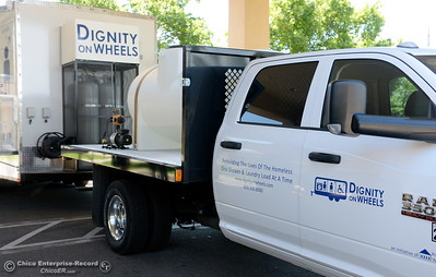 """A truck and trailer combo called """"Dignity on Wheels"""" is seen while Oroville officials gather at the Southside Community Center where the local nonprofit is presenting plans for a homeless care unit that includes showers, toilet and laundry facility. Wednesday May 9, 2018. (Bill Husa -- Enterprise-Record)"""