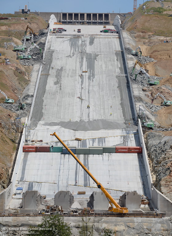 . Work is underway on the removal of the roller compacted concrete section of the Oroville Dam Spillway Wednesday May 9, 2018. (Bill Husa -- Enterprise-Record)