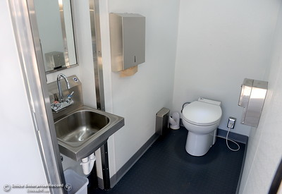 The toilet facility part of a homeless care trailer is seen at the  Southside Community Center where the local nonprofit is presenting plans for a homeless care unit that includes showers, toilet and laundry facility. Wednesday May 9, 2018. (Bill Husa -- Enterprise-Record)