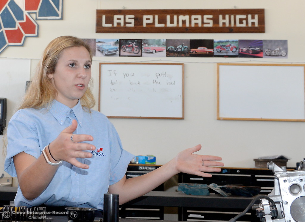. Las Plumas High School Senior Anna Miller talks about her award winning auto body skills during an interview at Las Plumas High School in Oroville, Calif. Wednesday May 2. 2018. (Bill Husa -- Enterprise-Record)