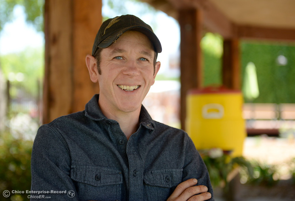. Permaculture expert Matt Trumm smiles at Union Square on Montgomery Street where he now runs a Farmers Market every Saturday from 7:30 - Noon starting May 5th through October 27th in Oroville, Calif. Wednesday May 2. 2018. (Bill Husa -- Enterprise-Record)
