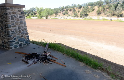 Evidence of recent vandalism is seen at a gazebo near a soccer field while Riverbend Park remains closed as construction is underway on repairs to the park in Oroville, Calif. Wednesday May 2. 2018. (Bill Husa -- Enterprise-Record)