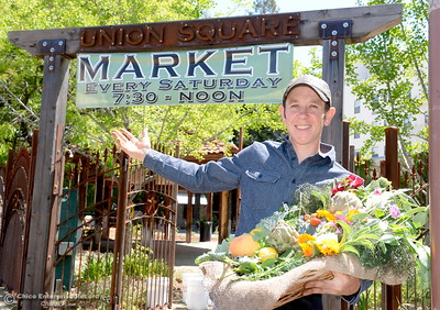 Permaculture expert Matt Trumm welcomes people to Union Square on Montgomery Street where he now runs a Farmers Market every Saturday from 7:30 - Noon starting May 5th through October 27th in Oroville, Calif. Wednesday May 2. 2018. (Bill Husa -- Enterprise-Record)