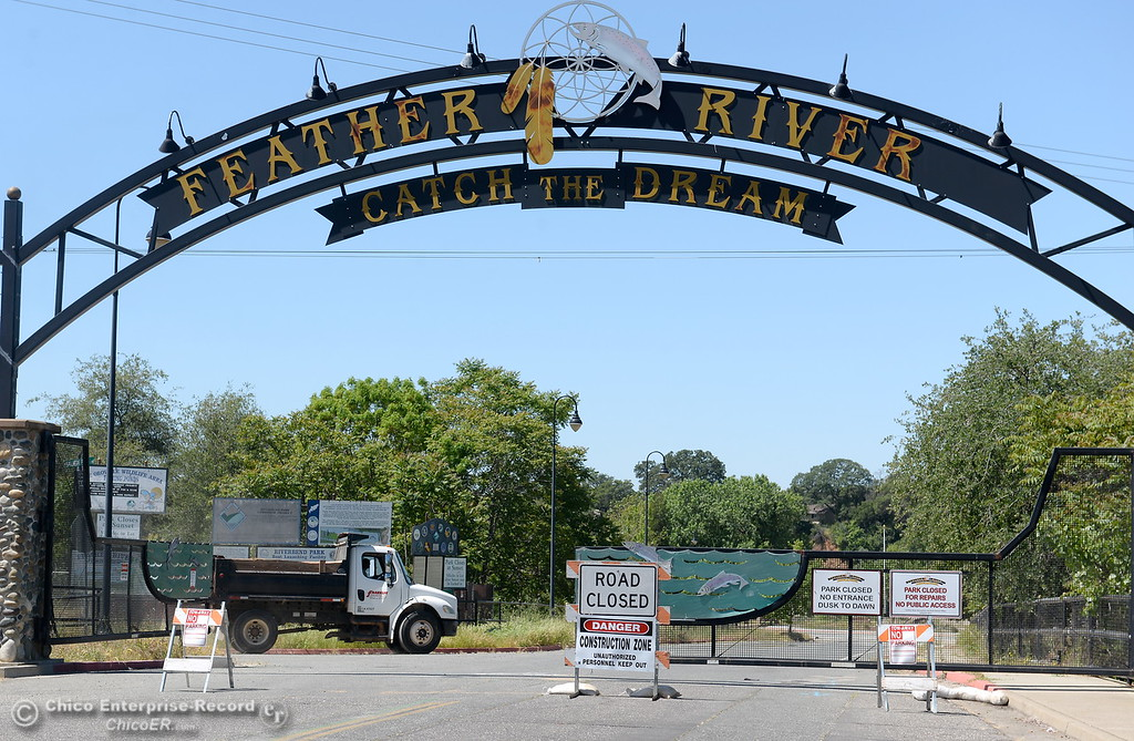 . A truck drives past the entrance gate while Riverbend Park remains closed as construction is underway on repairs to the park in Oroville, Calif. Wednesday May 2. 2018. (Bill Husa -- Enterprise-Record)