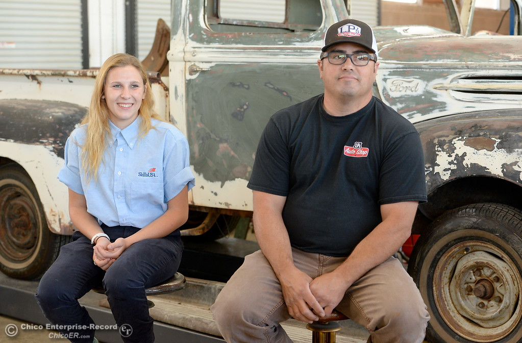 . Las Plumas High School Senior Anna Miller and her Auto Instructor West Upton talk about Miller\'s award winning auto body restoration skills at Las Plumas High School in Oroville, Calif. Wednesday May 2. 2018. (Bill Husa -- Enterprise-Record)