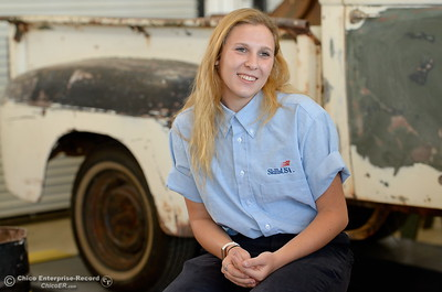 Las Plumas High School Senior Anna Miller talks about her award winning auto body skills during an interview at Las Plumas High School in Oroville, Calif. Wednesday May 2. 2018. (Bill Husa -- Enterprise-Record)