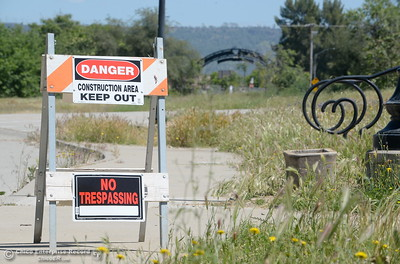 Riverbend Park remains closed as construction is underway on repairs to the park in Oroville, Calif. Wednesday May 2. 2018. (Bill Husa -- Enterprise-Record)