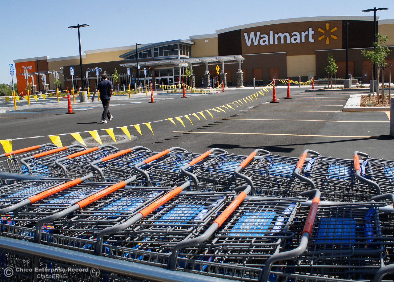 Rows of shopping cars sit outside the new Super Walmart in preparation for Wednesdays grand opening Tuesday June 6, 2017 in Oroville, California. (Emily Bertolino -- Mercury Register)