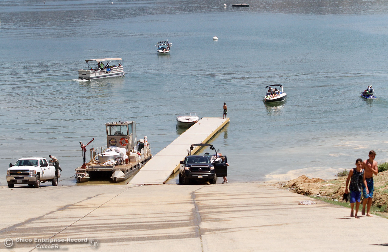 The boat launch at Bidwell Canyon Marina was busy Tuesday June 20, 2017 in Oroville, California. (Emily Bertolino -- Mercury Register)