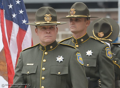 Members of the color guard prepare to bring in the colors during the fallen peace officers memorial at the Butte County Sheriff's office in Oroville, Calif. Wed. May 16, 2018.  (Bill Husa -- Enterprise-Record)
