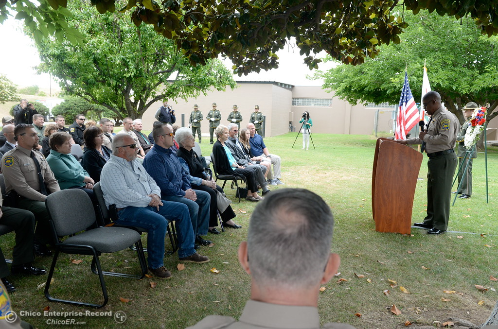 . Butte County Sheriff\'s Office Senior Chaplain Ed Hall speaks during the fallen peace officers memorial held in honor of Peace Officers Memorial Day at the Butte County Sheriff\'s office in Oroville, Calif. Wed. May 16, 2018.  (Bill Husa -- Enterprise-Record)