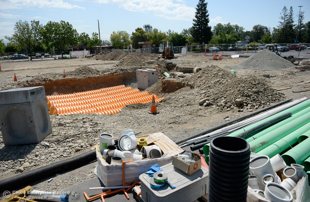 . Construction remains underway in part of the parking lot near the old Walmart shopping center on Oro Dam Blvd. in Oroville, Calif. Tues. May 22, 2018.  (Bill Husa -- Photos)