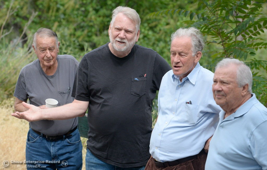 . Members of the group formerly known as Oroville Strong, left to right, Don Blake, Richard Thompson, Robert Bateman and Larry Grundmann talk about the Feather River and change to the name of the Feather River Recovery Alliance Wednesday May 30, 2018. (Bill Husa -- Enterprise-Record)