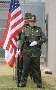 The Color Guard prepares to bring in the colors during the fallen peace officers memorial held in honor of Peace Officers Memorial Day at the Butte County Sheriff's office in Oroville, Calif. Wed. May 16, 2018.  (Bill Husa -- Enterprise-Record)
