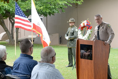 Butte County Sheriff Kory Honea speaks during the fallen peace officers memorial held in honor of Peace Officers Memorial Day at the Butte County Sheriff's office in Oroville, Calif. Wed. May 16, 2018.  (Bill Husa -- Enterprise-Record)