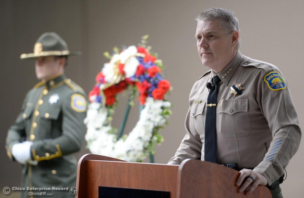 . Butte County Sheriff Kory Honea speaks during the fallen peace officers memorial held in honor of Peace Officers Memorial Day at the Butte County Sheriff\'s office in Oroville, Calif. Wed. May 16, 2018.  (Bill Husa -- Enterprise-Record)