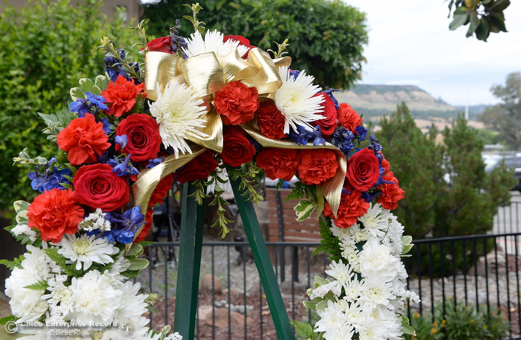 . A wreath is seen during the fallen peace officers memorial held in honor of Peace Officers Memorial Day at the Butte County Sheriff\'s office in Oroville, Calif. Wed. May 16, 2018.  (Bill Husa -- Enterprise-Record)