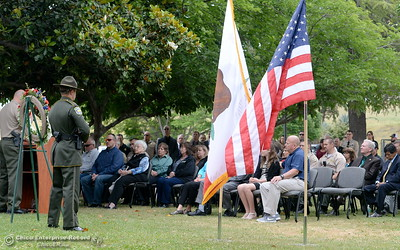 Law Enforcement members along with family members of fallen officers gather during the fallen peace officers memorial held in honor of Peace Officers Memorial Day at the Butte County Sheriff's office in Oroville, Calif. Wed. May 16, 2018.  (Bill Husa -- Enterprise-Record)