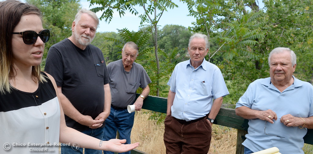 . Genoa Widener, Richard Thompson, Don Blake, Robert Bateman and Larry Grundmann left to right talk about the Feather River and what they hope to accomplish with the Feather River Recovery Alliance Wednesday May 30, 2018. (Bill Husa -- Enterprise-Record)